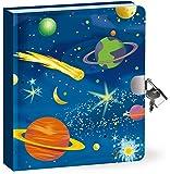Diario secreto de los niños - Tapa dura - el espacio exterior - brilla en la oscuridad - 200 páginas con cerradura y llave - Tamaño 160 mm x 140 mm