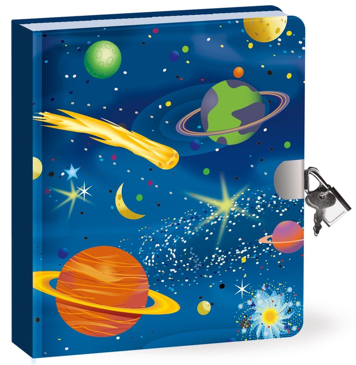 Geheimnis Tagebuch - Weltraum - leuchtet im Dunkeln - 200 Seiten mit Schloss und Schlüssel - Größe 160mm x 140mm Peaceable Kingdom 5165