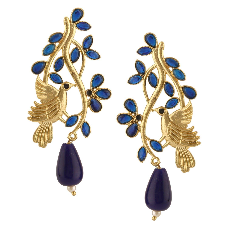 Efulgenz Indian Bollywood 14K Gold Plated Crystal Kundan Pearl Leaf Love Bird Inspired Drop Stud Earrings Jewelry Set