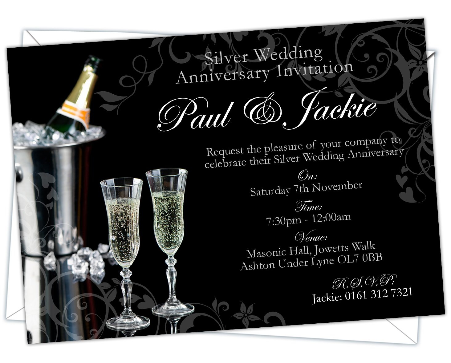 Personalised Silver Wedding 25th Anniversary Invitations Design Code: SWA 007 Pack of 20