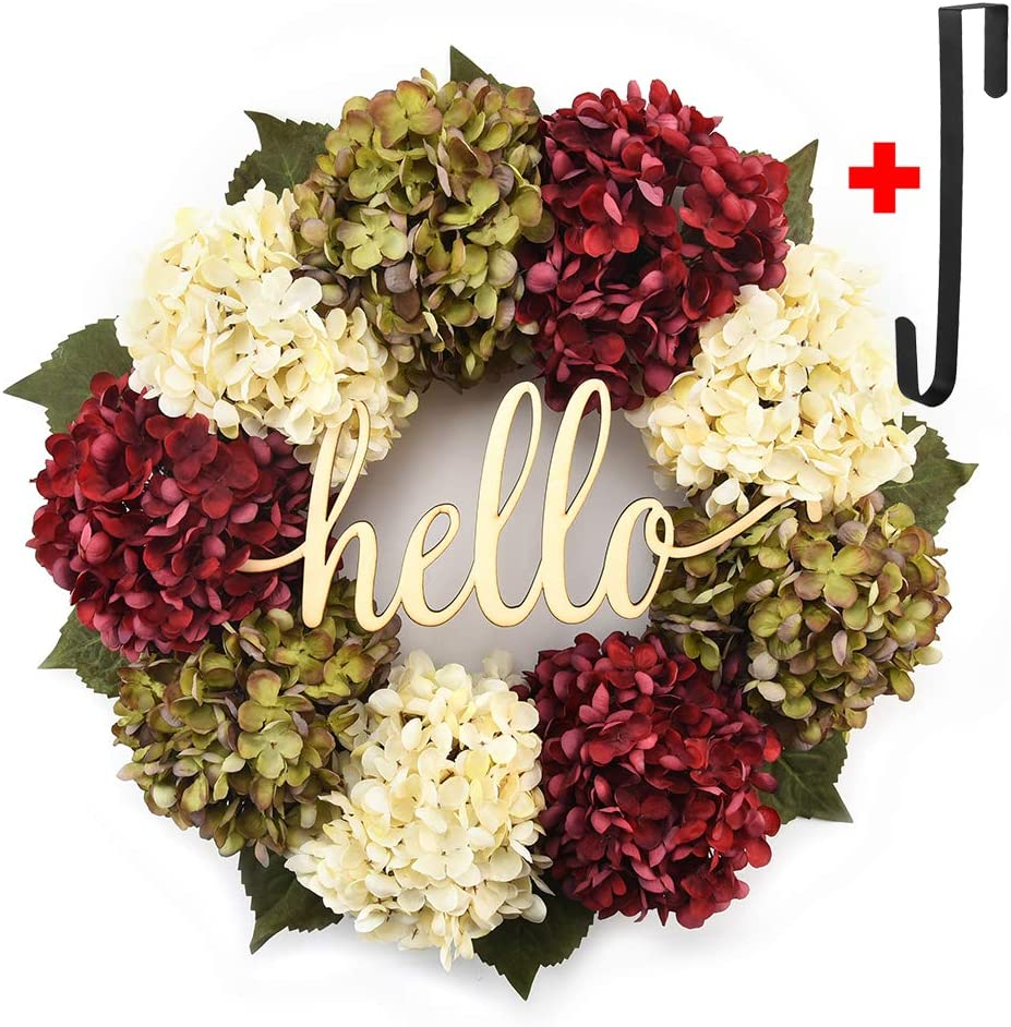 Hydrangea wreaths for front door,Outdoor summer wreaths for front door,Fall spring handmade Hello Wreath for Front Door,Farmhouse Wreath ,Rustic Wreath,Grapevine Wreath,Window Decoration(18 inches)