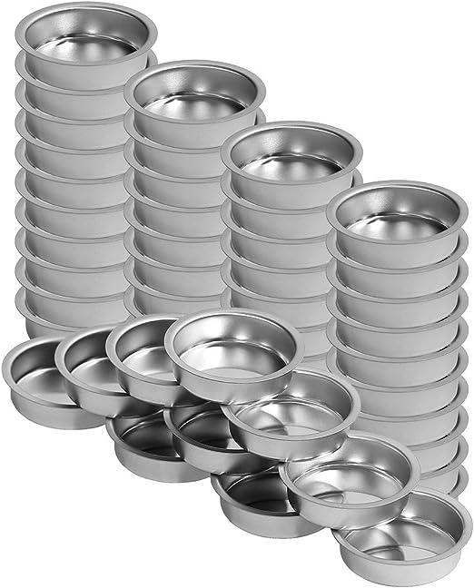 Teelichthalter silbern 40mm flach Teelicht T/ülle f/ür Standard Teelichtkerzen Gr/ö/ße:1 Stk.