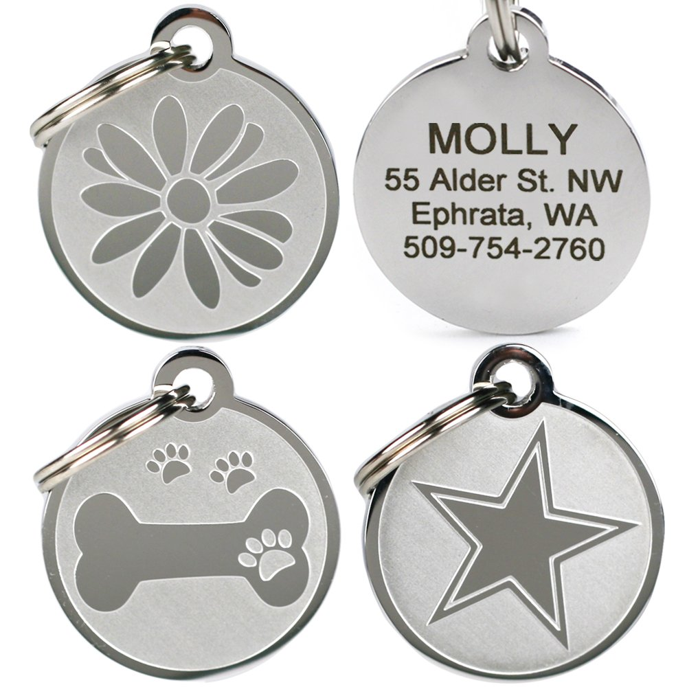 GoTags Pet ID - Playful, Custom Engraved Dog & Cat Pet Tags. Solid Stainless Steel, Personalized, and Fun.