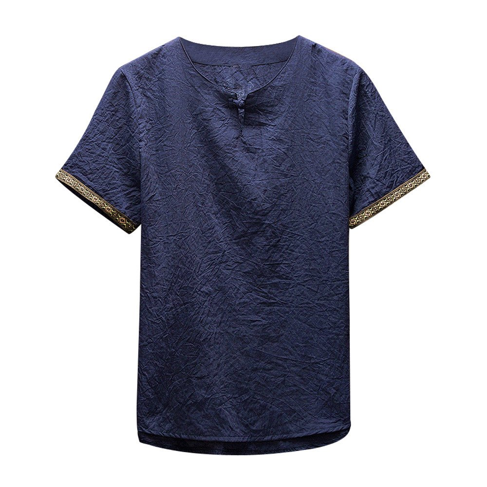 Gusspower Camisas De Lino Tradicionales para Hombres Manga Corta con Cuello En V Casual Blusa Suelta Camisetas Sueltas Top Adolescent Deportivas Sudadera del Collar Blusas, M-5XL 4 Colores