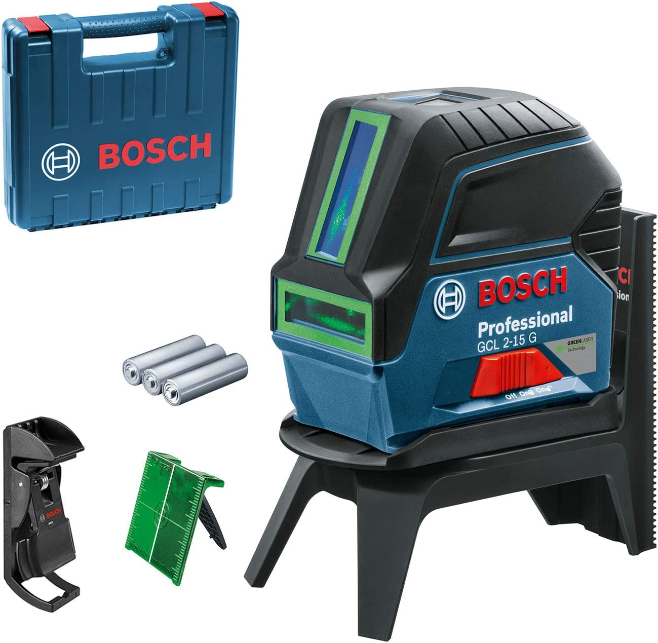 Bosch Professional Cross Line Laser GCL 2-15 G (with Plumb Points, Working Range: 15 m, Green Laser; in Carrying Case: 3 x 1.5 V LR6 Batteries, RM 1 Professional Rotating Mount, Laser Target Plate)