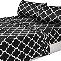 Utopia Bedding 4PC Bed Sheet Set 1 Flat Sheet, 1 Fitted Sheet, and 2 Pillowcases