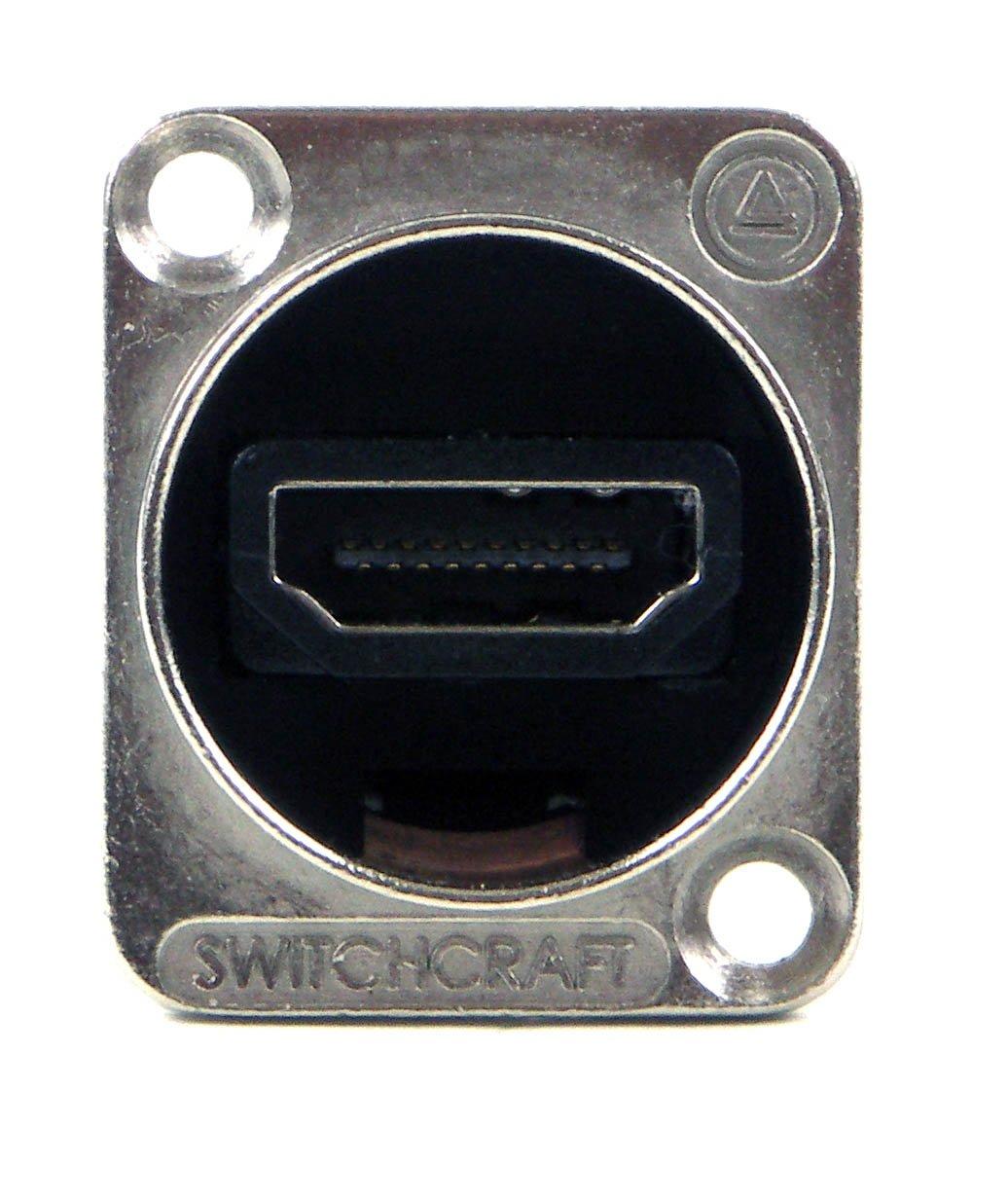 Switchcraft EHHDM12PKG HDMI Feedthru, Bagged with 4-40 Mounting Screws, Nickel Finish