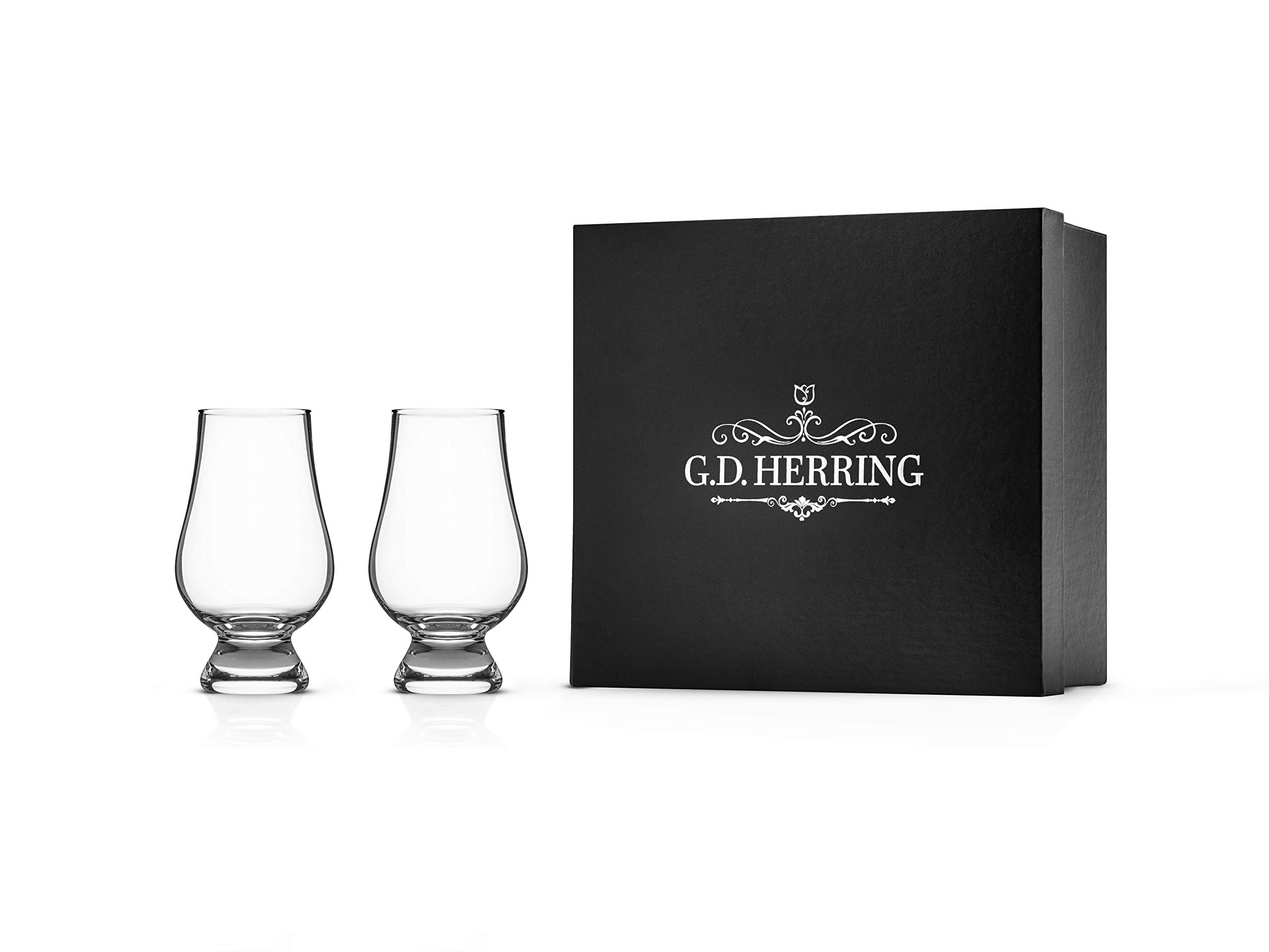 Lead-Free Crystal Whiskey Glass Snifter, Set of Two In Gift Box, For Drinking Bourbon, Scotch, Rum, Brandy And All Premium Spirits, From GD Herring
