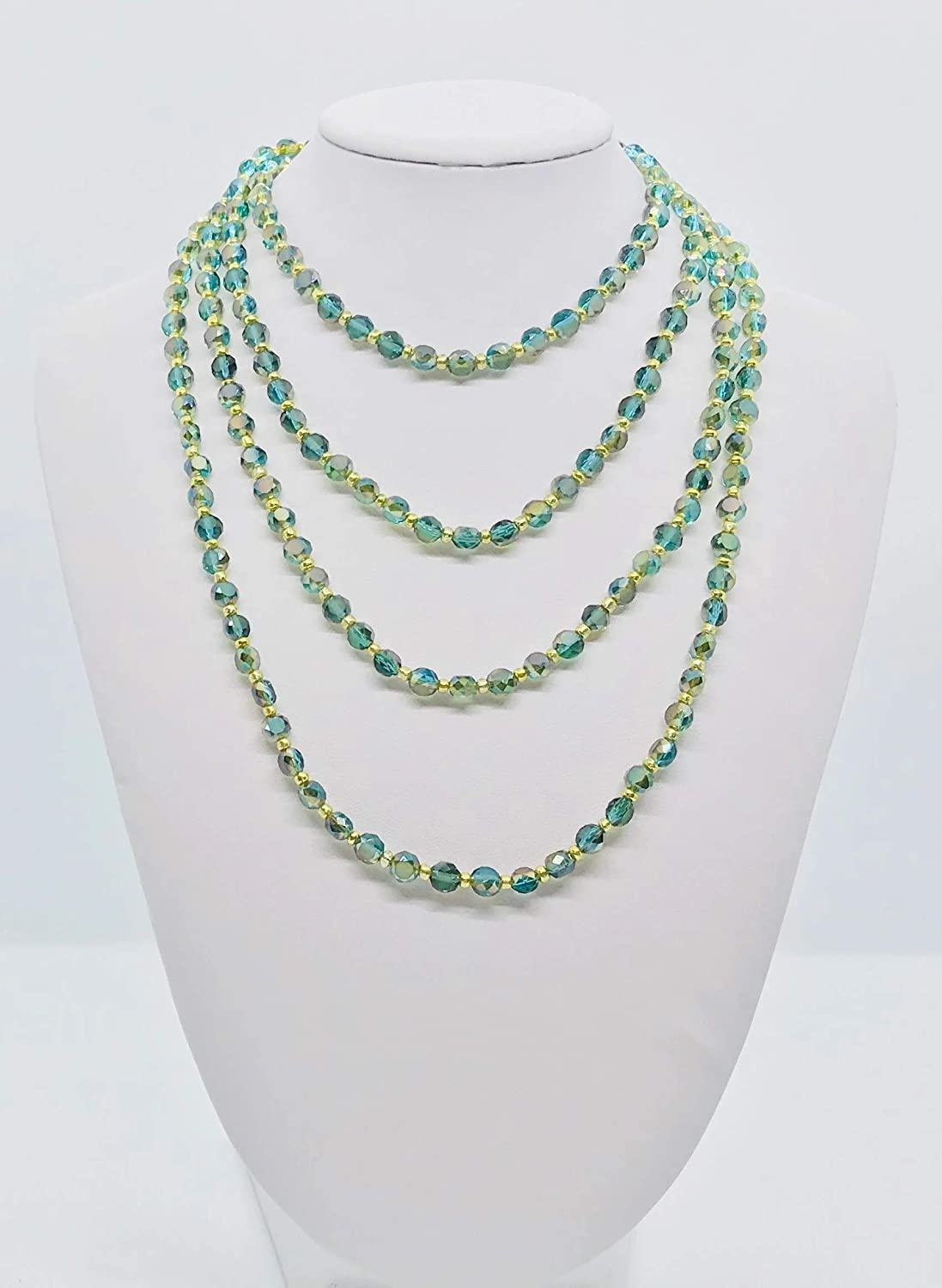 Magnolia /& Peach Jewelry Green and Gold Glass Bead Necklace N120