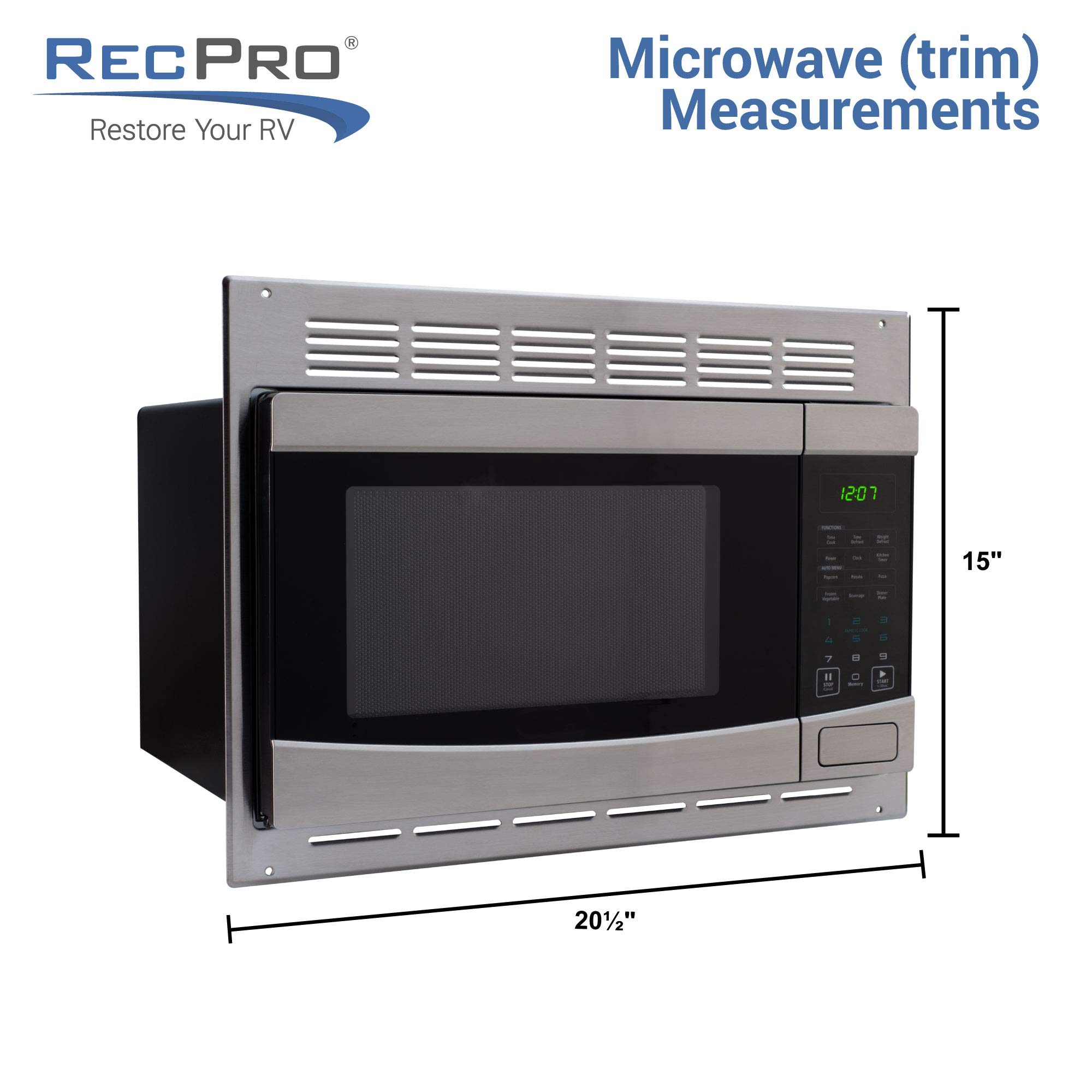 RecPro RV Stainless-Steel Microwave 1.0 cu ft. With Trim Package EM925AQR-S by RecPro (Image #4)