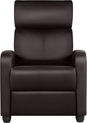 Topeakmart PU Leather Recliner Chair Living Room Single Sofa Home Theater Seating