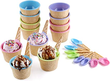Party Supplies 12 Pieces Polka Dot Ice Cream Cups With Spoons