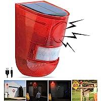 Solar Sound & Light Alarm Motion Sensor 110 Decibels Siren Sound Alert & 6LEDs Flash Warning Strobe Security Alarm…