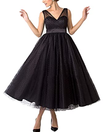 liangjinsmkj Vintage 1950s Style Polka Dotted Tea Length Little Prom Dress Evening Wedding Dress Black US2
