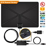 HDTV Antenna,Digital Antenna 1080P 4K Freeview Antenan 60-80 Miles with 2018 Newest Type Switch Console Amplifier Booster,16.5FT High-Performance Coaxial Cable,Useful UL Power Adapter