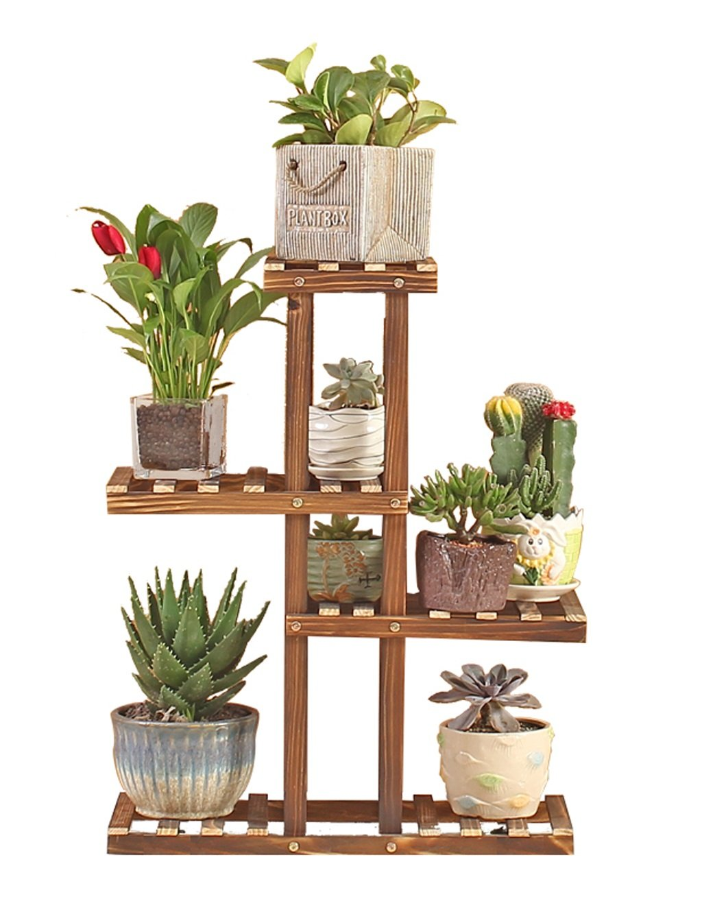 Echotang Wooden Flower Rack Movable Flowerpot Display Shelf Plant Stand, Brown (Color : No casters)