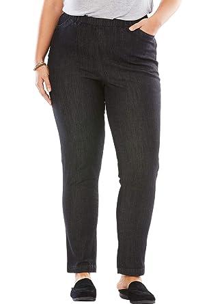 4b4ddf78ae0 Woman Within Women s Plus Size Straight Leg Fineline Jean at Amazon ...
