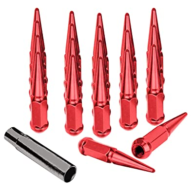 Spike Lug Nuts 20 Pieces with Socket Key 12mmx1.25, Red: Industrial & Scientific