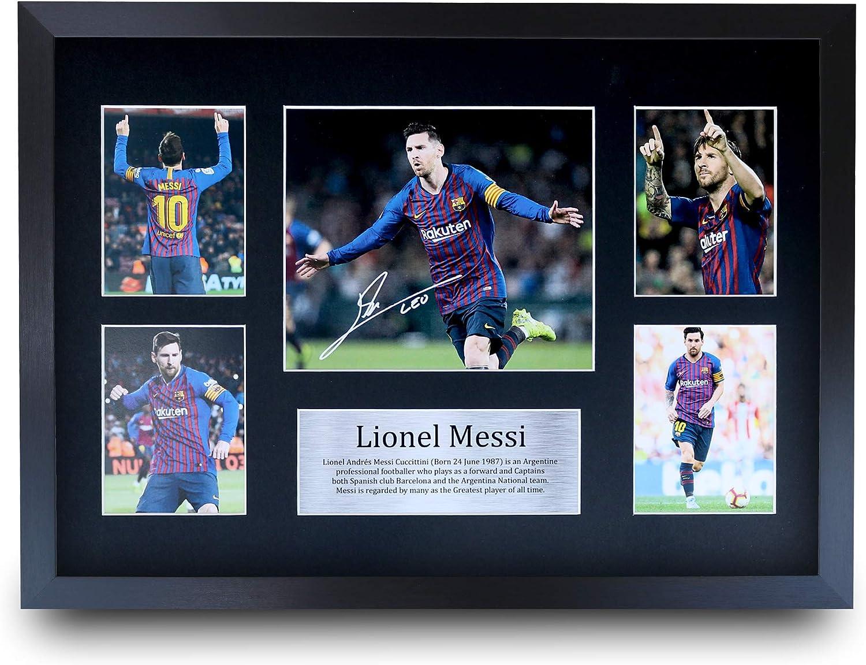 HWC Trading Lionel Messi A3 Enmarcado Regalo De Visualización De Fotos De Impresión De Imagen Impresa Autógrafo Firmado por FC Barcelona Los Aficionados Al Fútbol