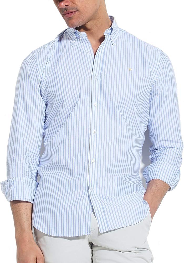 SILBON - Camisa Sport Raya Media Celeste para Hombre: Amazon.es: Ropa y accesorios