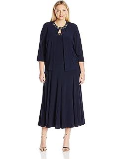 4f1e73b4c5d Alex Evenings Women s Plus Size Tea Length Jacket Dress with Sequin Beaded  Trim