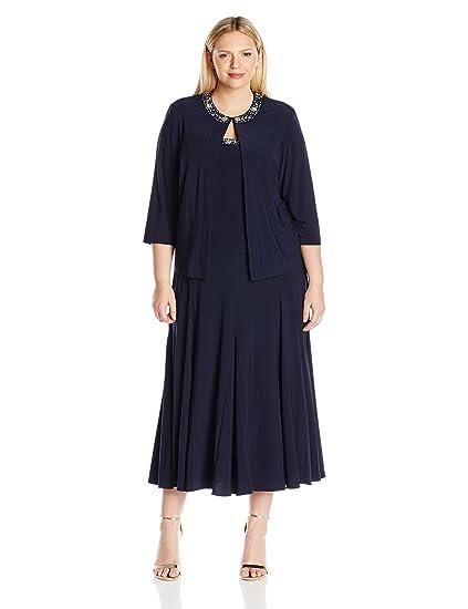 Alex Evenings Womens Plus Size Tea Length Jacket Dress With Sequin