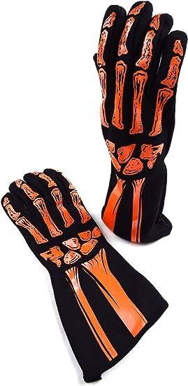 Racerdirect RJS Racing SFI 3.3//5 New Skeleton Racing Gloves Orange//Black Size XL 600090155