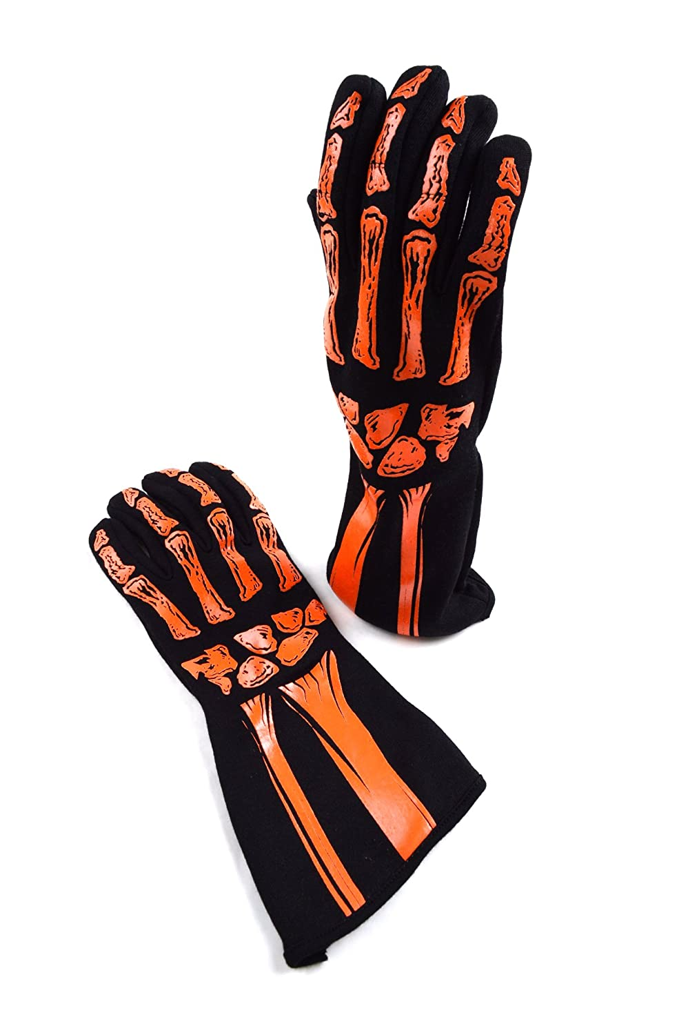Racerdirect RJS Racing SFI 3.3/5 New Skeleton Racing Gloves Orange/Black Size XL 600090155