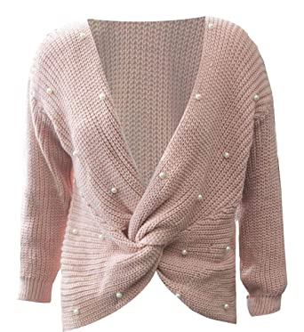 8a46df51ca6 Ladies V Neck Knitted Sweater Cross Knot Pom Pom Jumper Womens Fancy Long  Sleeve Tops Blouse at Amazon Women s Clothing store