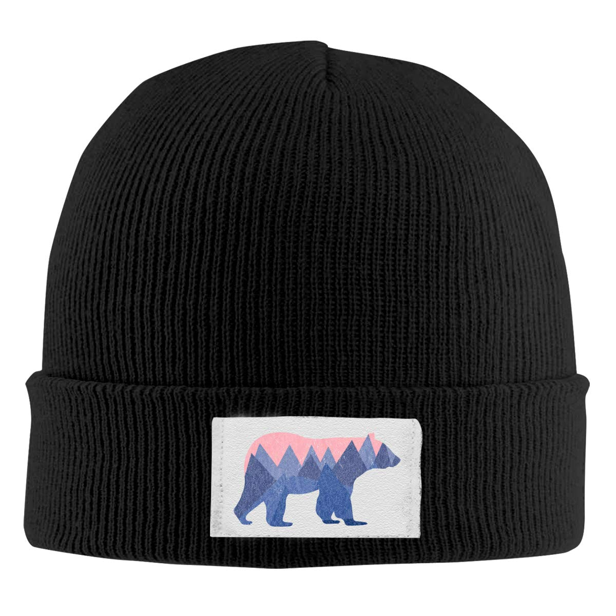 Skull Caps Bear Mountain Winter Warm Knit Hats Stretchy Cuff Beanie Hat Black