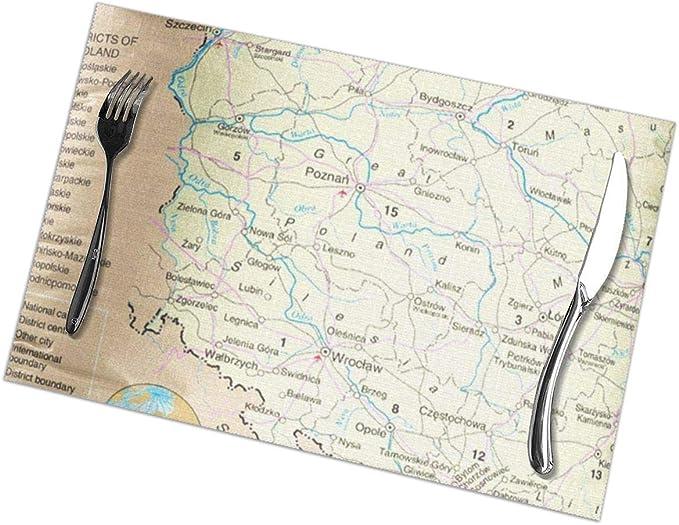 Juego de manteles individuales de 6 para mesa de comedor Mapa ...
