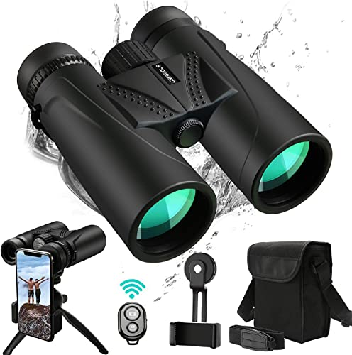 UNEGROUP Binoculars for Adults, 10×42 HD Low Light Night Vision Compact Binocular, Waterproof Lightweight Binocular Prism FMC BAK4 for Outdoor Birdwatching Sports Games with Smartphone Adapter Tripod
