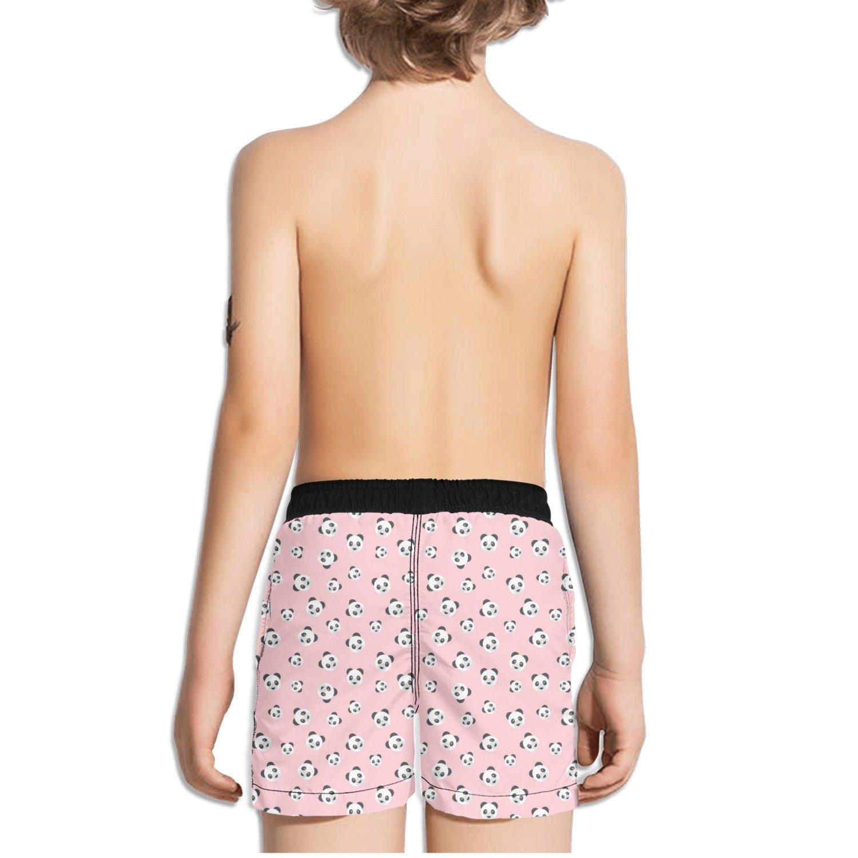 Panda Bear Head On Pink Background Toddler Little Boys Swim Trunks Quick Dry Water Swim Shorts Cool Sportwear with Pocket