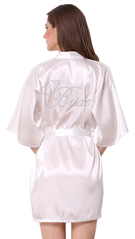 JOYTTON Women's Satin Kimono Wedding Party Robe with Embroidered Bride Short Believeyourself