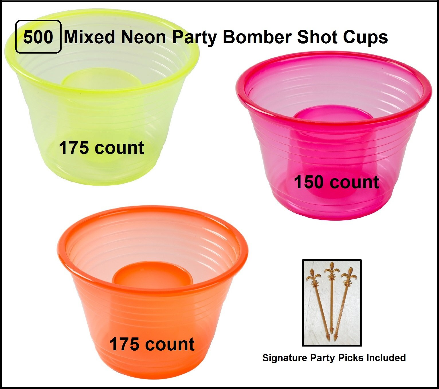 500 count Fineline Mixed Neon Blaster Bomb Shot Cups w/ Signature Party Picks by Quenchers