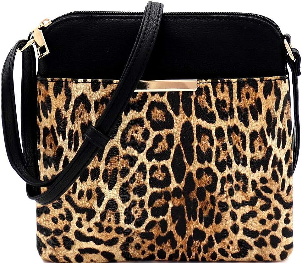 Leopard Print Vegan Leather Tassel Accent Multi Pocket Small Medium Crossbody