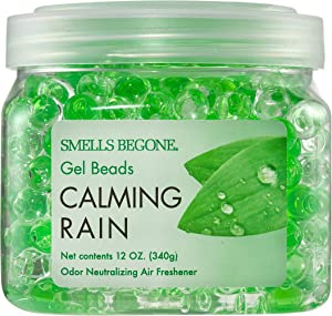 Smells Begone Odor Eliminator Gel Beads - Air Freshener - Eliminates Odor in Bathrooms, Cars, Boats, RVs and Pet Areas - Made with Natural Essential Oils - Calming Rain Scent (12 OZ)