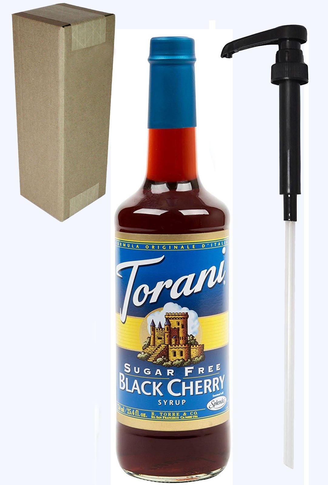 Torani Sugar Free Black Cherry Flavoring Syrup, 750mL (25.4 Fl Oz) Glass Bottle, Individually Boxed, With Black Pump