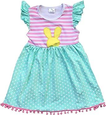 9eaeb73c076 BluNight Collection Little Girl Dress Kids Cap Sleeve Stripe Polka Dot Easter  Summer Girl Dress Mint