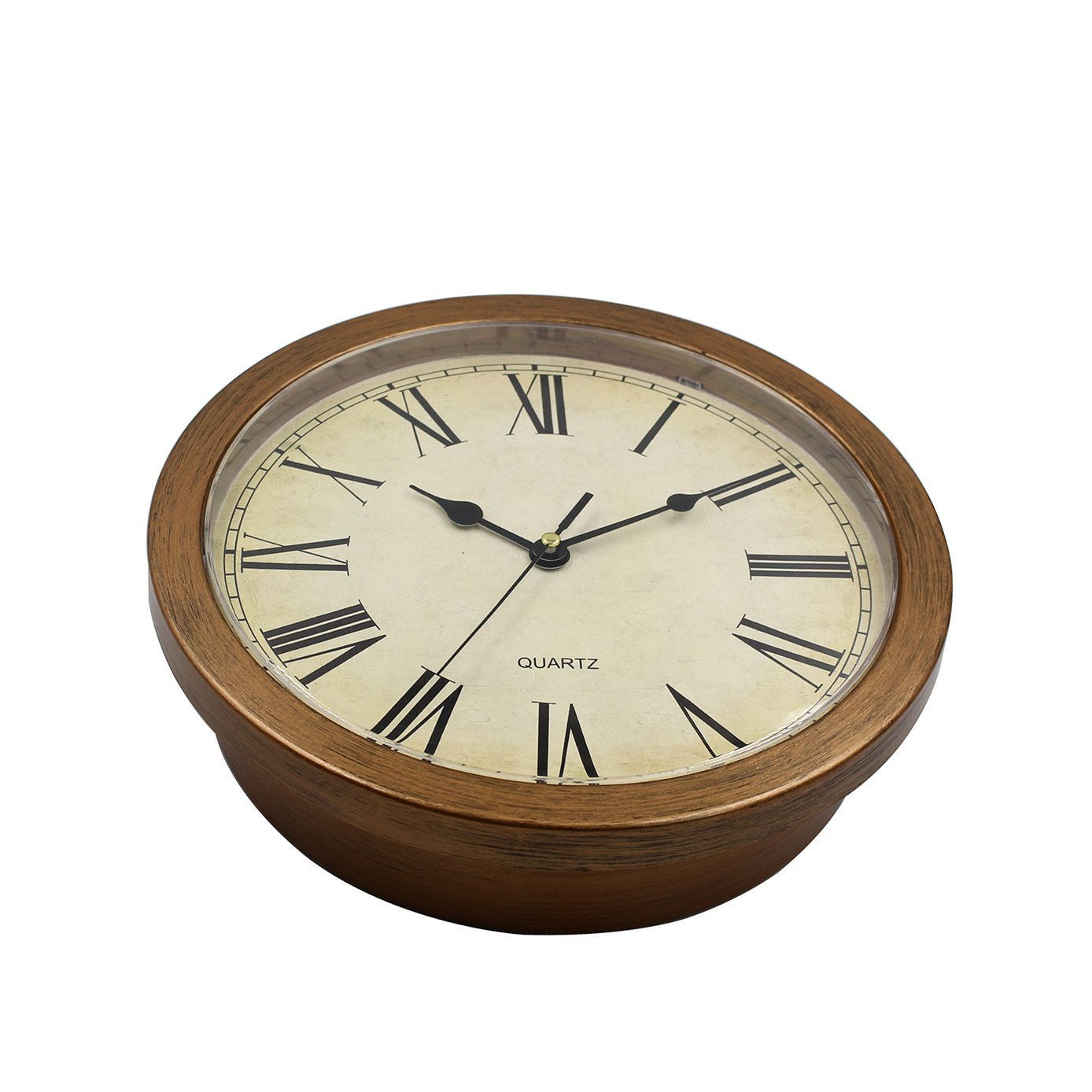 Amazon magho plastic wall clock with secret compartment as amazon magho plastic wall clock with secret compartment as hidden safe for money jewelry stashing 10 wood grain home kitchen amipublicfo Gallery