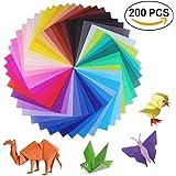 Lot de 200feuilles de papier origami 2tailles, 50couleurs vives recto pour travaux manuels, lot de 100yeux mobiles