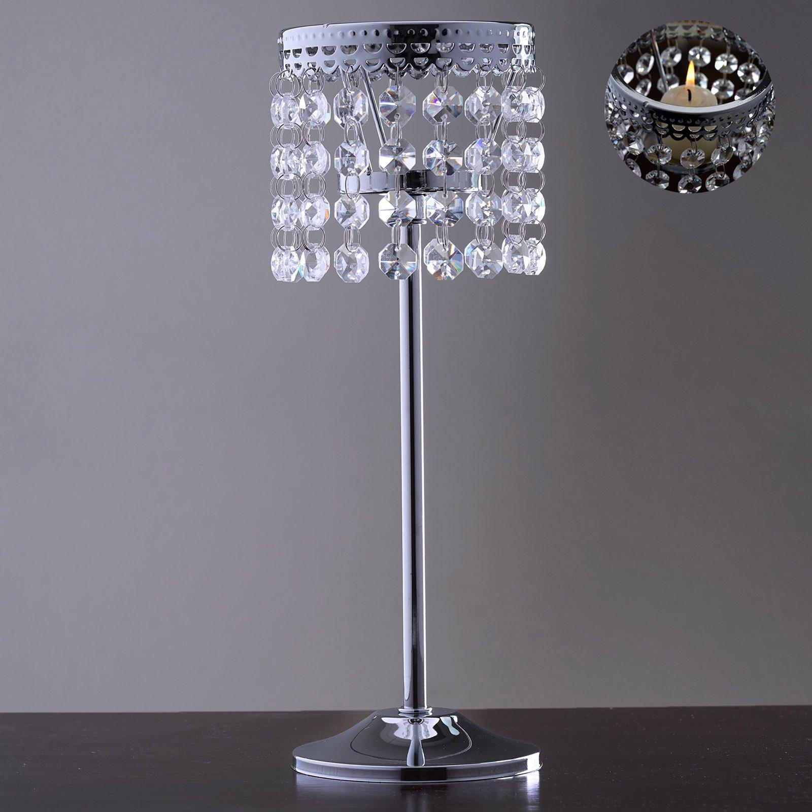Efavormart Stunning Metal Votive Tealight Crystal Candle Holder Wedding Centerpiece - 11.5''