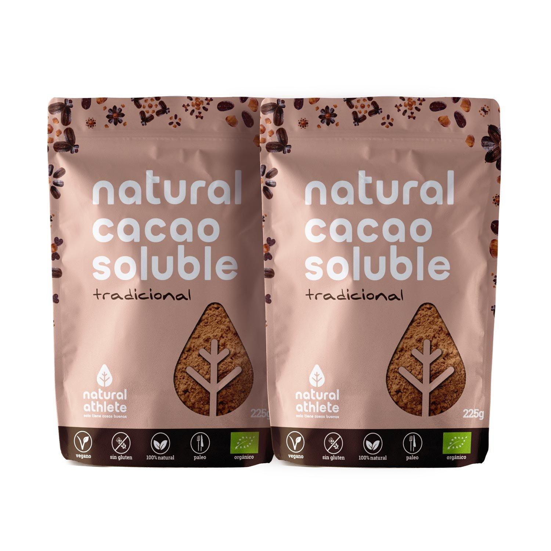 Cacao Soluble - Natural Athlete - 75% menos de azúcar - 100% natural y orgánico, azúcar de coco y sin azúcar refinado añadido. Pack 2x225g