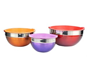 6 Piece Stainless Steel Mixing Bowl Set Color: Red/Orange/Purple