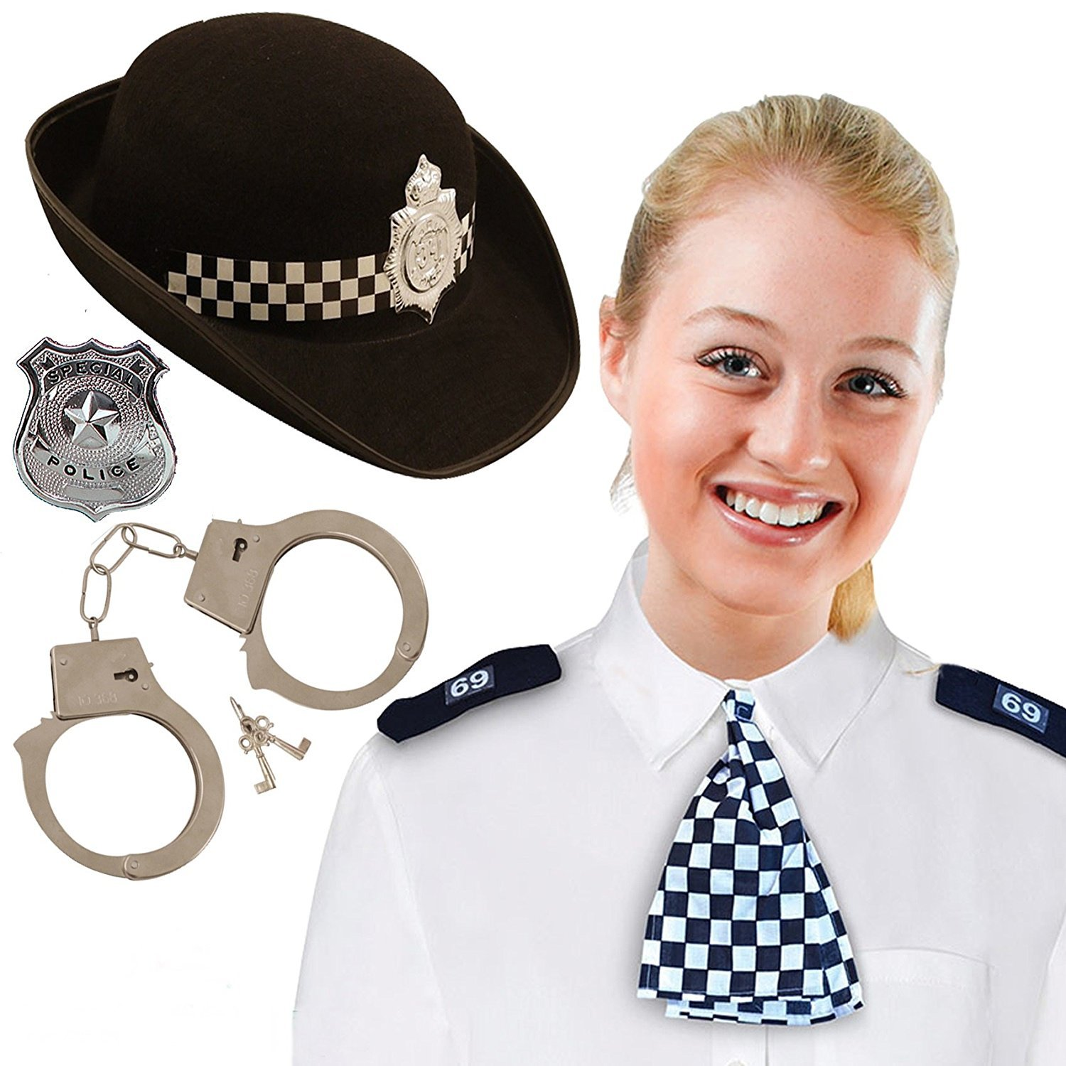 ADULT BLACK WPC POLICE WOMAN HAT WITH EPAULETTES /& SCARF FANCY DRESS BRITISH