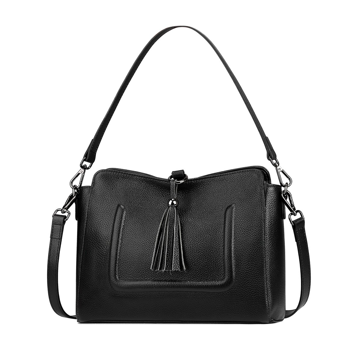 S-ZONE Genuine Leather Women's Crossbody Bag Simple Shoulder Bag with Tassel Satchel Purse (Black)
