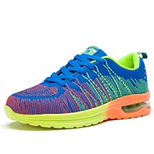 L-RUN Women's Running Shoes Fashion Casual Sports Jogging Walking Sneakers Yellow Blue 4.5 M US