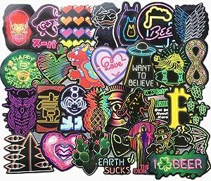 75-Pcs PVC Stickers Vinyl Graffiti Neon Laptop Car Decals Waterproof Sunlight-Proof Durable for Cars Motorbikes Luggage Skateboard Decor