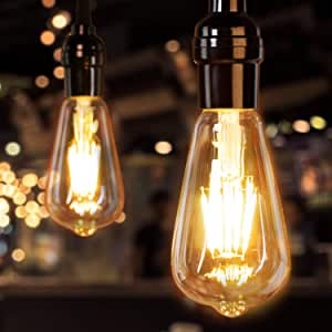 Led Edison Bulb Dimmable, Brightown 6Pcs 60 Watt Equivalent E26 Base Vintage Led Filament Bulb 6W, 480 Lumens, Amber White