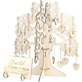 AerWo Family Tree Wedding Guest Book, 3D Wooden Guest Sign Book Rustic Wedding Party Decorations